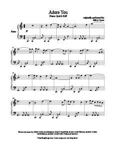 Adore You - Miley Cyrus free piano sheet music. Download sheet music for over 300 hit songs at www.PianoBragSongs.com.