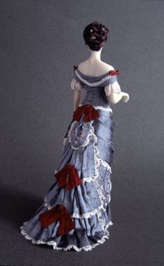 Cecile (1877-1879) Grey douppion silk ball gown with hand embroidered and lace. Carabosse Dolls (back view) Click to enlarge