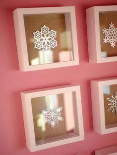 christmas art, christma decor, boxes, shadow box, snowflak frame, crochet snowflakes, pink bedrooms, crochet doilies, bedroom designs