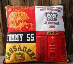 Tee Shirt Memory Pillow  Custom Made 27 X 27 by MossEmbroidery, High School Football Tees--$90.00