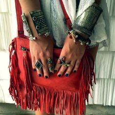 ☯☮ॐ American Hippie Bohemian Style ~ Boho silver cuffs and red leather fringe bag!