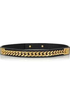 { Leather and gold-plated chain belt }
