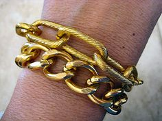 Gold Chunky Twist Textured and Smooth Curb Chain Double Bracelet or Necklace    by CharmingChain, $18.00