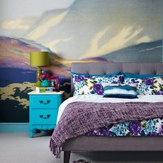 Bedroom with wall mural | housetohome.co.uk