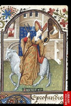 A portrayal of the symbolic personification of Lust, riding a white goat and carrying arrows and a mirror; in the background, Kind David spies upon Bathsheba in her bath; (The Dunois Hours, France, c.1440–50; (Yates Thompson 3 f. 172v). (British Library)
