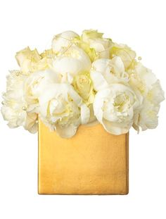 Love the idea of plain gold box with simple white flowers. Can even use gift boxes and warp in gold wrapping. Maybe sprinkle gold glitter to dress it up.