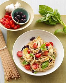 Mediterranean Pasta with Artichokes, Olives and Tomatoes