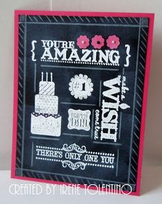 Stampin' Up! Birthday   by Irene T at Chit Chats and Crafts : Faux Chalk Art