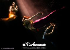 The Merlesque mermaids underwater. Merlesque are the UK's trio of professional mermaids: http://www.realmermaids.co.uk