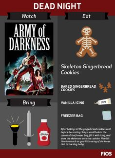 This cult classic took The Evil Dead to the dark ages. Create your own skeleton army (of cookies), and prepare for a debonair evening of fighting, horror, and laughs. And don't forget Bruce Campbell. #movienight