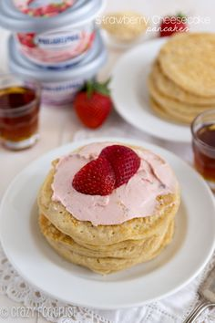 Strawberry Cheesecake Pancakes - bursting with strawberry and graham flavor!