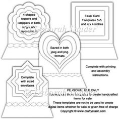 Easel Card Templates x 2 with 4 Shaped Toppers