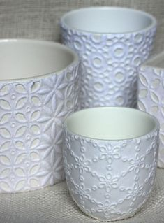 Lace Mod Podged Dishes by Urban Comfort, featured at totallygreencrafts.com
