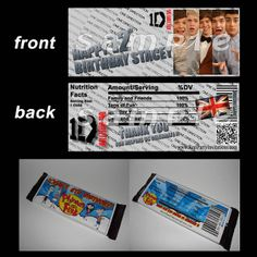 ONE DIRECTION CANDY BAR WRAPPERS