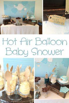 Hot Air Balloon Baby Boy Shower - Pretty My Party #hot #air #balloon #baby #shower #ideas
