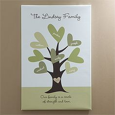 "This ""Leaves of Love"" Personalized Family Tree Canvas Art is beautiful! What a pretty way to display your family tree! It's on sale now for only $38.95! #FamilyTree #Canvas #Art #PMall.com #Home"