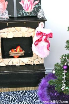 I'll show you how I made this doll fireplace...out of repurposed items! {part 1}