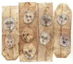 faces in teabags by Ines Seidel