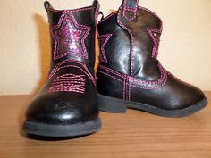 Pink & Black Baby Girl Cowboy Boots W/ Glitter Stars (3infants)