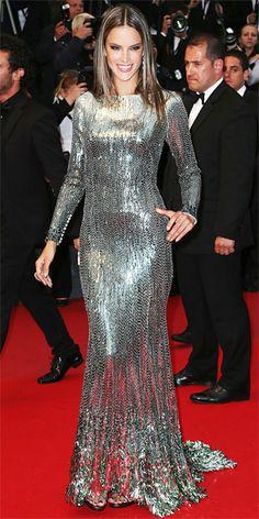 Alessandra Ambrosio in silver Roberto Cavalli in Cannes 2013