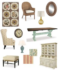Cottage Style Dining Room Inspiration: Soft Shades of yellow, aqua, and coral. Natural textures.  #cottagestyle #cottagedecor #cottagefurniture #painteddininghutch #creamfootstool #paintedbarnwoodtable #trestletable #wickerarmchair #vintageclock  http://cottagehomefurniture.com/shop-by/style/cottage-collection/