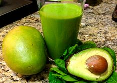 Green Avocado & Mango Smoothie:  1 c. mango (fresh or frozen) 3 handfuls spinach 1/4 avocado 1 c. almond milk