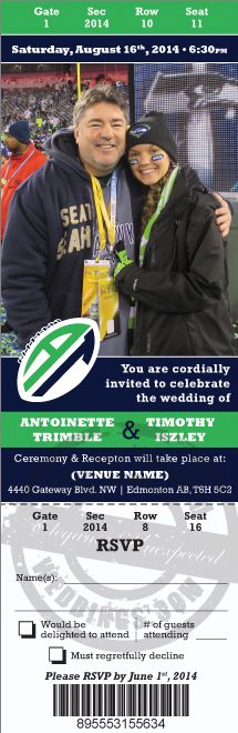 Seattle Seahawks Football Themed Wedding.  Custom designed ticket style invitation with free unlimited design revisions!
