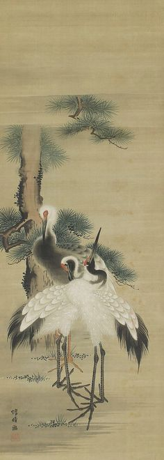 Crane in Pines. Japanese Hanging Scroll Painting.