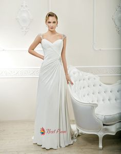 Modern Spaghetti Strap Court Train Chiffon Sheath Column Wedding Dress With Pleating