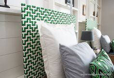 Using the jigsaw malachite fabric to make a simple fabric covered headboard.  Paired with the turtle malachite pillow #hgtvhomemagic