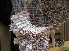 retail displays, chicken wire, kitchen design, papers, paper sculptures, wire sculptures, sculpture art, old books, paper roll