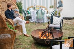 fire pits, adirondack chairs, backyard ideas, garden parti, small backyards, outdoor space, patio, courtyard firepit, outdoor fire pit seating