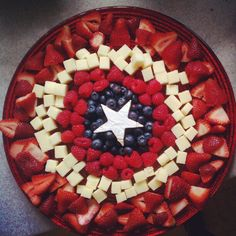 Captain America's shield as a fruit & cheese tray. Made it for Avengers birthday party! (The star is a brie wheel, cut with a cookie cutter!) aveng birthday, birthday parties, fruit platters, food, captain america party, avengers birthday, 4th of july, cheese trays, parti idea