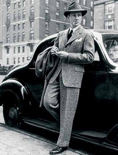 Men's fashion - practically every photo you see of the 1940's, men had on a suit, a tie, and a hat. They were dapper