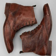 Mens Leather Wingtip Boots fashion shoes, ankle boots, leather boots, men fashion, men clothes, men shoes, brown boots, dress shoes, combat boots