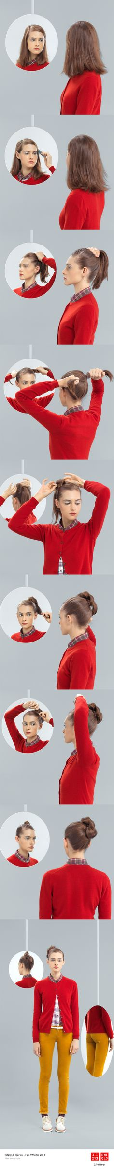 """""""THE KRISTY BOW"""" : This hair style paired with our plaid shirt and cardigan is great for a day outside.   Click the image for DIY instructions! #UpDo #Hair #Hairstyle #DIY #UNIQLO"""