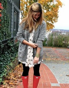 chunky sweater, printed dress, leggings and wellies - adorable!