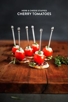 cherry tomatoes stuffed with cheese + herbs. @president america Cheese