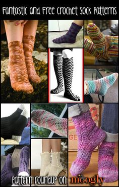 Crochet Socks - 10 Free Patterns!  http://www.mooglyblog.com/free-crochet-sock-patterns/
