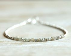 RESERVED Rough diamond bracelet sparkling gray raw uncut by Filoe, $55.00