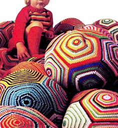 Vintage Retro 70s Crochet FLOOR PILLOW Ball by KinsieWoolShop, $3.20