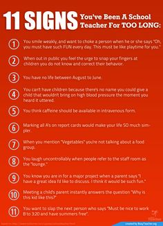 POSTER: 11 Signs You've Been A School Teacher For Too Long