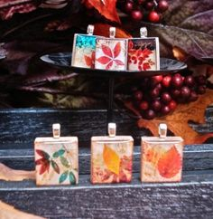 "Lovely Fall scrabble tiles from our new set ""Autumn Leaves"" - Mango and Lime Design"