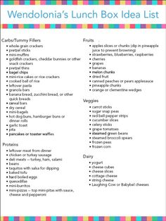 Lunch box idea list from Wendolonia!   http://wendolonia.com/blog/bento-box-basics/lunch-box-idea-list/