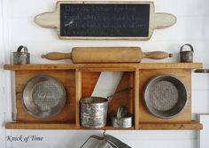 Turn those pretty antique baking items into a charming wall display!  ~~~via Knick of Time  http://knickoftimeinteriors.blogspot.com/