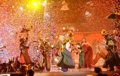 """The cast of the Cirque du Soleil show """"Love"""" caps off the milestone 50th Annual GRAMMY Awards in 2008 with a colorful, confetti-drenched finale"""