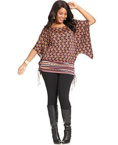 Styleco. Plus Size Top, Butterfly-Sleeve Printed Side-Tie - Plus Size Tops - Plus Sizes - Macy's