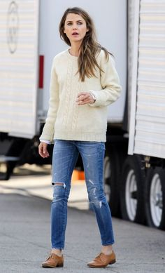 sweater, jeans, and oxfords