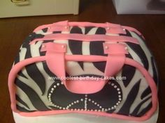 Homemade Zebra Striped Purse Cake: This Zebra Striped Purse Cake was my 2nd attempt at using fondant, so not too bad! I made a 9' round and cut it in half and stood them up with buttercream
