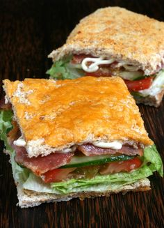 BLT on toasted cheddar and parmesan cheese bread